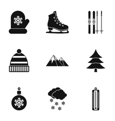 Winter frost icons set simple style vector