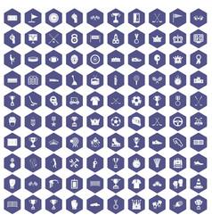 100 awards icons hexagon purple vector