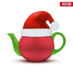 Ceramic teapot with Christmas hat of Santa vector image