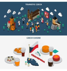 Czech Republic 2 Touristic Isometric Banners vector image