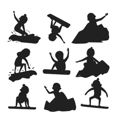 Snowboarder jump silhouette in different pose vector