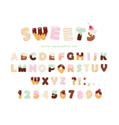 sweets bakery font design funny latin alphabet vector image