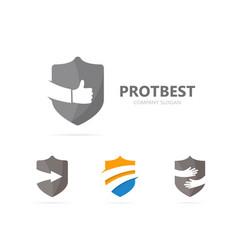 Shield and like logo combination vector