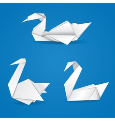 Origami swans vector