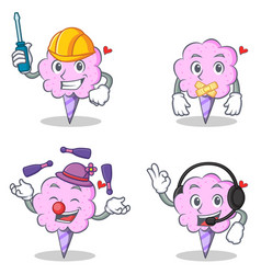 Cotton candy character set with automotive silent vector