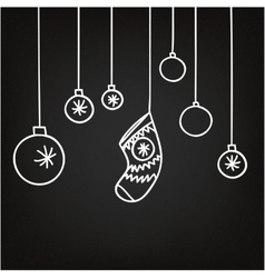 New year and christmas background blackboard vector