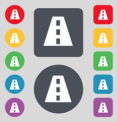 Road icon sign a set of 12 colored buttons flat vector