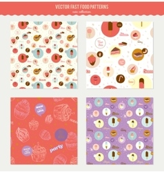 Food pattern with dessert icons in circles vector