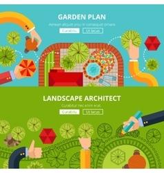 Landscape garden design concept poster vector image