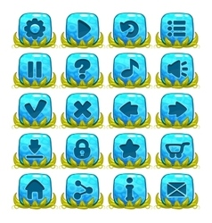 Set of blue buttons with web icons vector