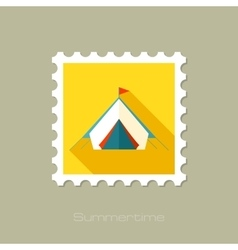 Tent flat stamp with long shadow vector