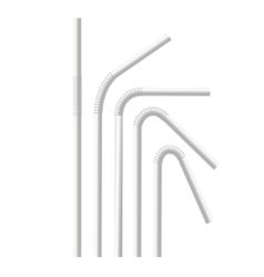 White drinking straws set vector