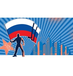 Flag bearer russia background vector
