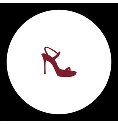 Simple lady open court shoe isolated red icon vector