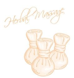 Hand drawn of isolated herbal compress massage vector