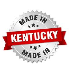 Made in kentucky silver badge with red ribbon vector