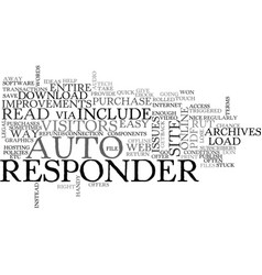 autoresponder improvements text word cloud concept vector image vector image