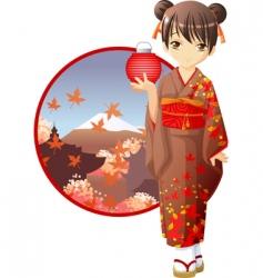 autumn kimono girl vector image