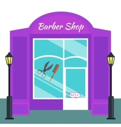 Baber shop stores front flat style vector image vector image