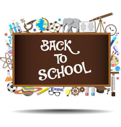 Back to School chalkboard with science symbols and vector image vector image