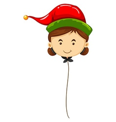 Balloon shape of woman wearing red hat vector