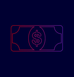 Bank note dollar sign line icon with vector