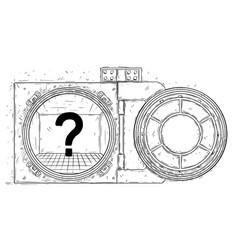 Cartoon drawing of open empty vault door vector