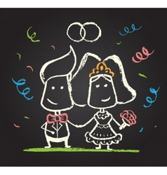 Chalked happy engaged couple vector