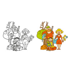 Coloring humorous caricature characters vector