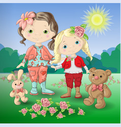 Cute cartoon girl with toys teddy bear and rabbit vector