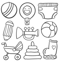doodle of object baby collection vector image