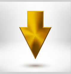 Down Arrow Sign with Gold Metal Texture vector image