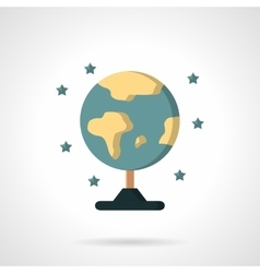 Earth model globe flat color icon vector