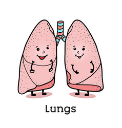 funny lung character with human face vector image