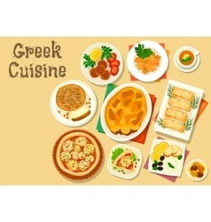 Greek cuisine healthy lunch icon for food design vector