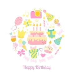 Happy Birthday circle icons vector image vector image