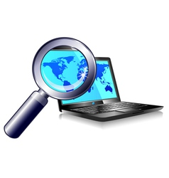 Internet Ball and Laptop world magnifying glass vector image vector image