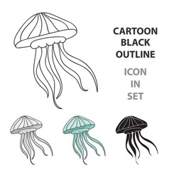 jelly fish icon in cartoon style isolated on white vector image vector image