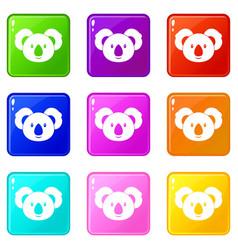koala icons 9 set vector image