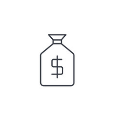money bag thin line icon linear symbol vector image vector image