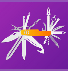 Multifunction flat knife swiss knife vector