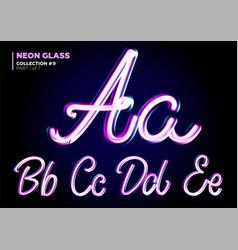 neon glowing 3d typeset font set of glass vector image vector image