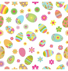 Seamless pattern of flowers and Easter eggs vector image vector image