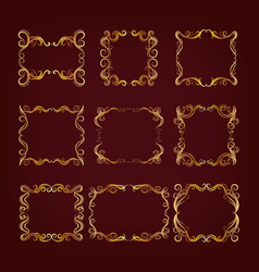 Set of royal golden frames vector