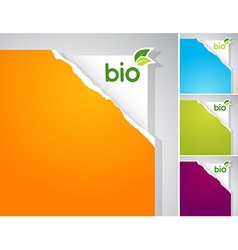 Set of teared papers with bio sign vector image vector image