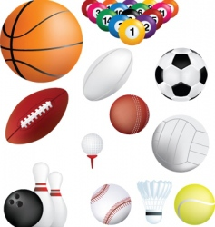 sports balls on white vector image vector image