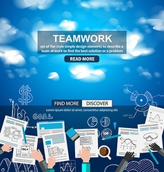 Teamwork business concept with doodles sketch vector