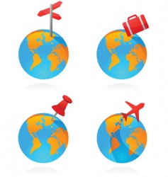 travel world icons vector image vector image