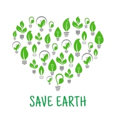Save earth green leaf energy poster vector
