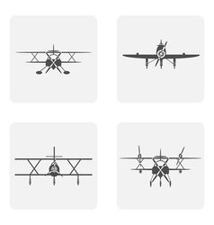 Monochrome icons set with planes vector